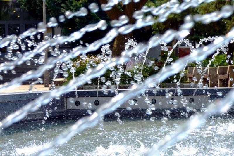 Η πηγή σταθμεύει δημόσια μια θερινή ημέρα με το ράντισμα του νερού στοκ εικόνες με δικαίωμα ελεύθερης χρήσης