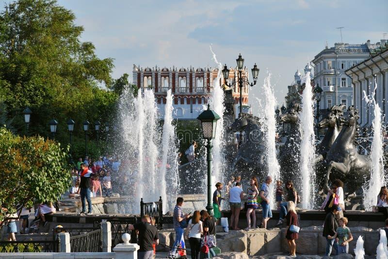 Η πηγή στον κήπο του Αλεξάνδρου, Μόσχα, Ρωσία στοκ εικόνες με δικαίωμα ελεύθερης χρήσης