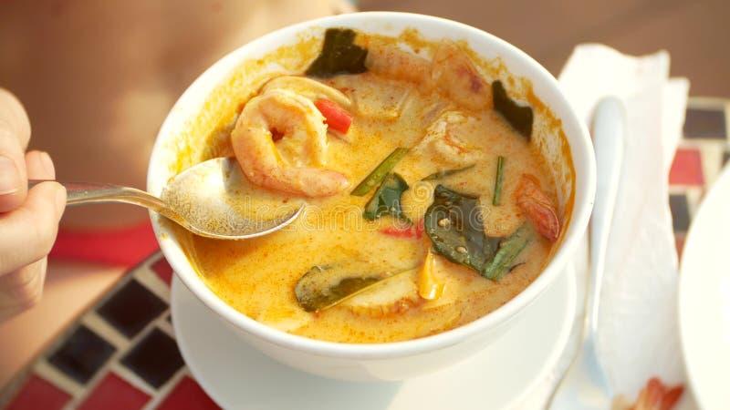 Η πικάντικη σούπα γαρίδων είναι ένα ταϊλανδικό πιάτο με το ξινό και πικάντικο γούστο το με μεγάλο στήθος κορίτσι σε ένα μπικίνι τ στοκ εικόνες