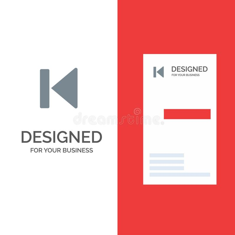 Η πλάτη, αρχή, έλεγχος, μέσα, αρχίζει το γκρίζο σχέδιο λογότυπων και το πρότυπο επαγγελματικών καρτών διανυσματική απεικόνιση