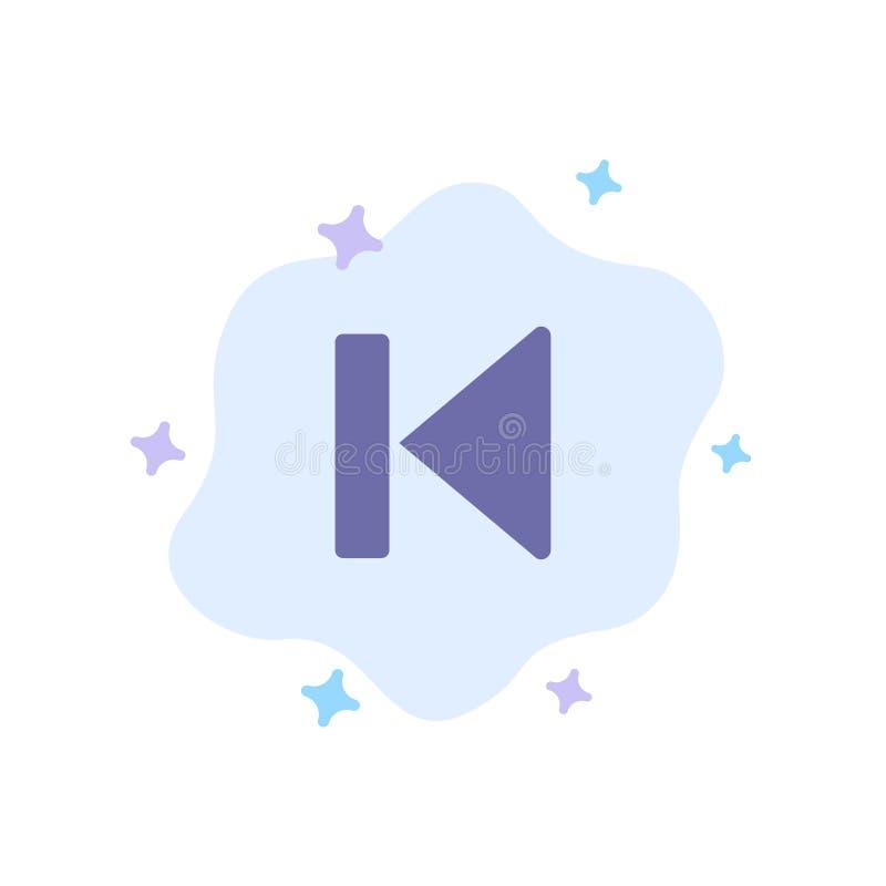 Η πλάτη, αρχή, έλεγχος, μέσα, αρχίζει το μπλε εικονίδιο στο αφηρημένο υπόβαθρο σύννεφων ελεύθερη απεικόνιση δικαιώματος