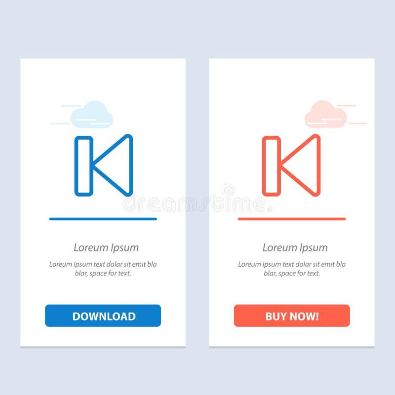 Η πλάτη, αρχή, έλεγχος, μέσα, αρχίζει το μπλε και το κόκκινο μεταφορτώνει και αγοράζει τώρα το πρότυπο καρτών Widget Ιστού απεικόνιση αποθεμάτων