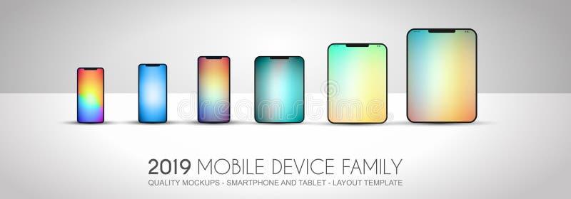 Η πλήρης οικογένεια συσκευών επόμενης γενιάς περιέλαβε τα κινητά τηλέφωνα, τ ελεύθερη απεικόνιση δικαιώματος