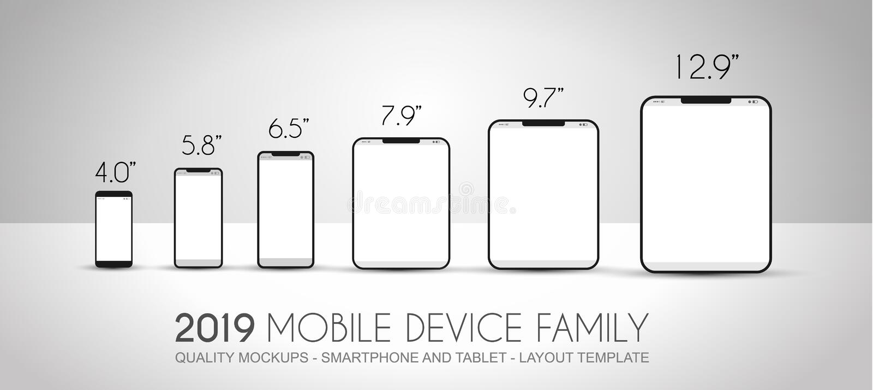 Η πλήρης οικογένεια συσκευών επόμενης γενιάς περιέλαβε τα κινητά τηλέφωνα, τ διανυσματική απεικόνιση