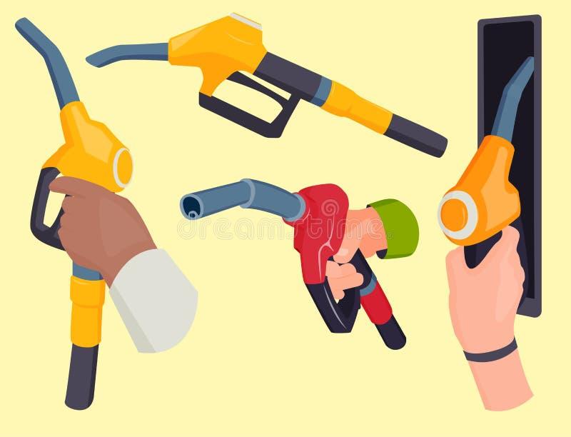 Η πλήρωση του πιστολιού σταθμών βενζίνης στους ανθρώπους δίνει την ανεφοδιάζοντας σε καύσιμα δεξαμενή πετρελαίου εγκαταστάσεων κα ελεύθερη απεικόνιση δικαιώματος