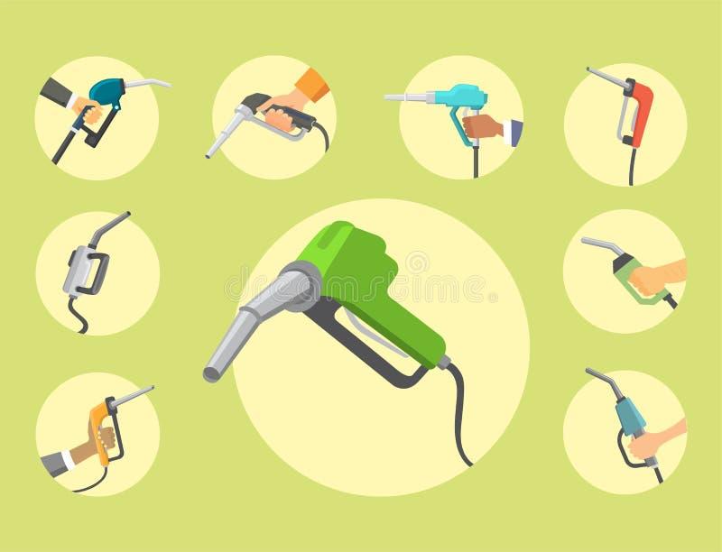 Η πλήρωση του πιστολιού σταθμών βενζίνης στους ανθρώπους δίνει το διάνυσμα εργαλείων υπηρεσιών δεξαμενών πετρελαίου ανεφοδιασμού  διανυσματική απεικόνιση
