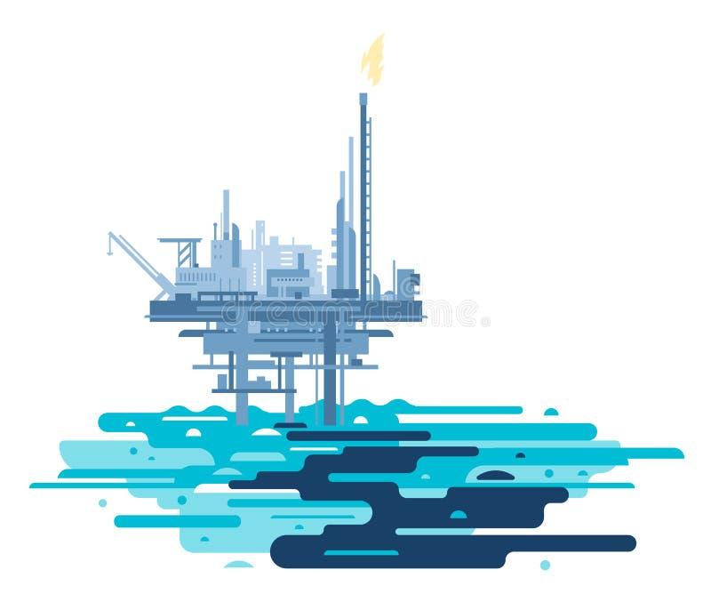 Η πλατφόρμα πετρελαίου μόλυνε τον ωκεανό ελεύθερη απεικόνιση δικαιώματος