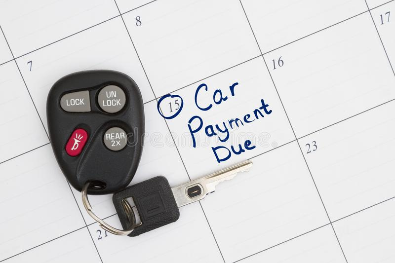 Η πληρωμή αυτοκινήτων είναι οφειλόμενη σήμερα στοκ εικόνες