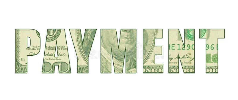 Η ΠΛΗΡΩΜΉ ` λέξης ` με το σχέδιο των χρημάτων ελεύθερη απεικόνιση δικαιώματος