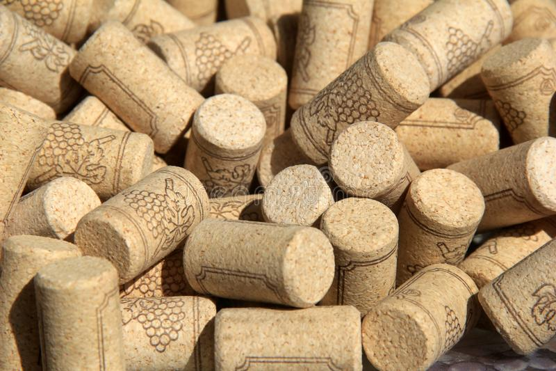 Η ποικιλία του κρασιού βουλώνει συλλεχθείς κατά τη διάρκεια των ετών, καθορισμένος στο μεγάλο κύπελλο κάτω από τη θερινή ηλιοφάνε στοκ εικόνα με δικαίωμα ελεύθερης χρήσης