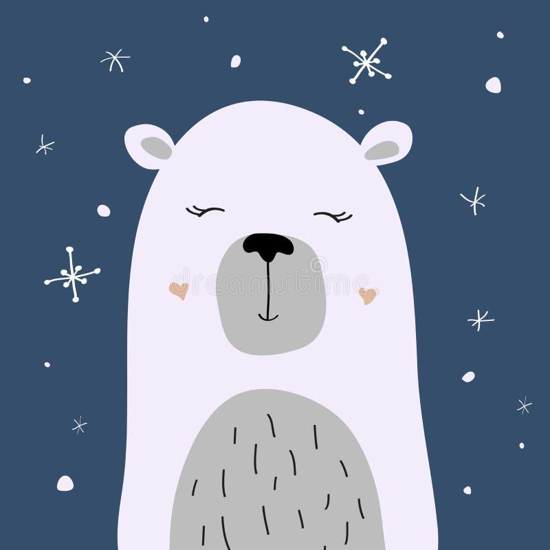 Η πολική αρκούδα απολαμβάνει το χιόνι, διανυσματική κάρτα Χριστουγέννων διανυσματική απεικόνιση