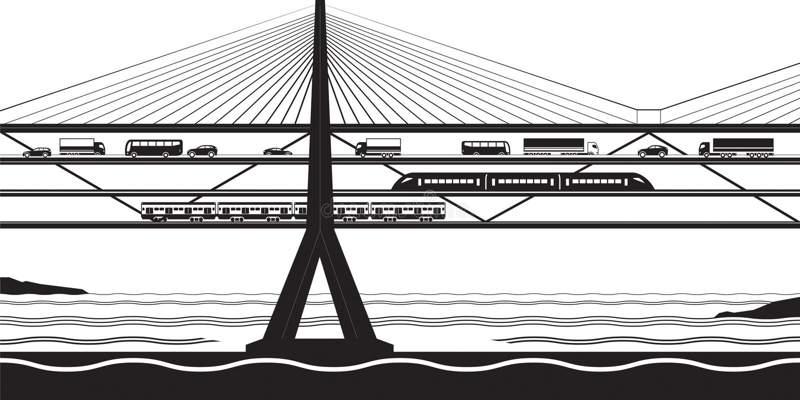 Η πολυσύνθετη γέφυρα μεταφορών διασχίζει τον ποταμό ελεύθερη απεικόνιση δικαιώματος