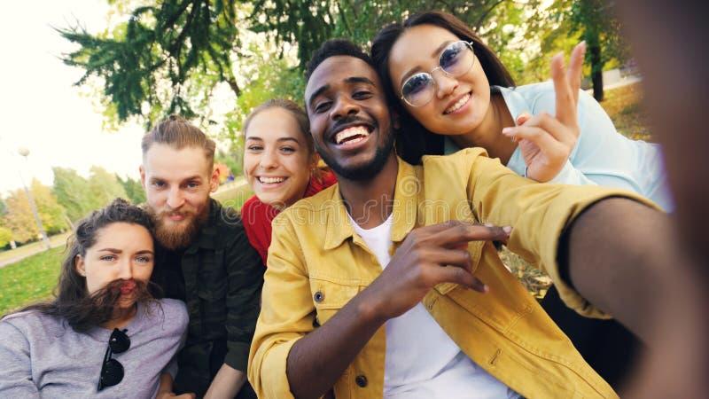 Η πολυφυλετική ομάδα φίλων παίρνει selfie στη συνεδρίαση πάρκων στο κάλυμμα, θέτει και εξετάζει τη κάμερα Αφροαμερικάνος στοκ εικόνες