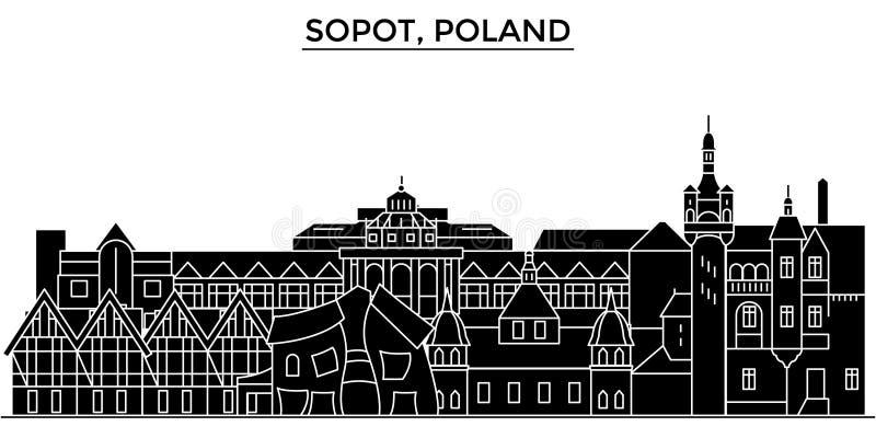 Η Πολωνία, διανυσματικός ορίζοντας πόλεων αρχιτεκτονικής Sopot, εικονική παράσταση πόλης ταξιδιού με τα ορόσημα, κτήρια, απομόνωσ διανυσματική απεικόνιση