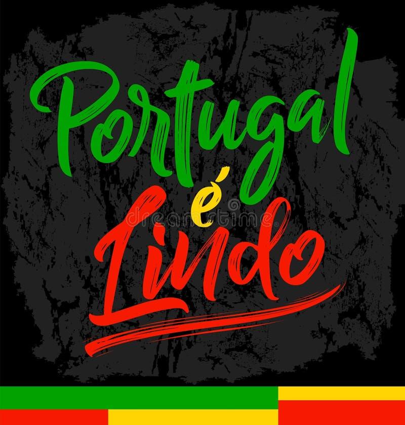 Η Πορτογαλία ε Lindo, Πορτογαλία είναι όμορφο πορτογαλικό κείμενο απεικόνιση αποθεμάτων