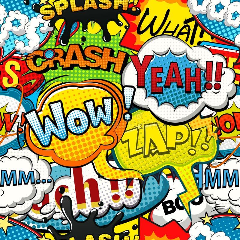 Η πολύχρωμη ομιλία comics βράζει άνευ ραφής σχέδιο απεικόνιση αποθεμάτων
