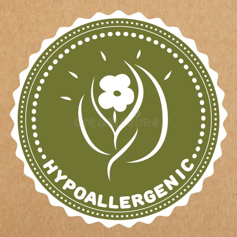 Η πράσινη ετικέτα Hypoallergenic, το διακριτικό με τα φύλλα και το λουλούδι για τα ασφαλή προϊόντα αλλεργίας, απομόνωσαν το αντικ ελεύθερη απεικόνιση δικαιώματος