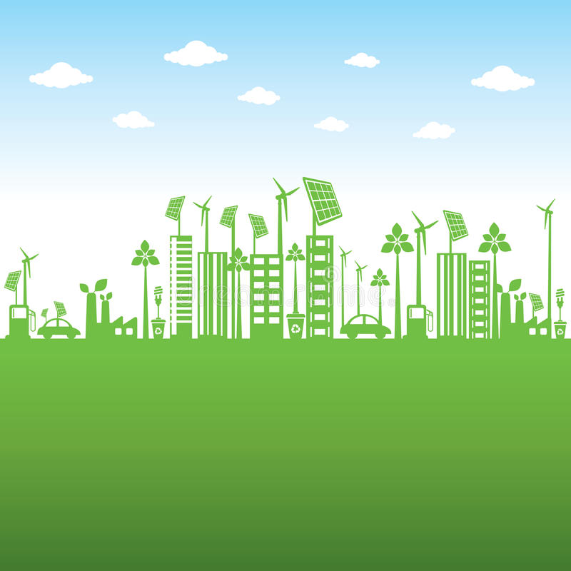 Η πράσινη πόλη ή πηγαίνει πράσινη ή σώζει τη γήινη έννοια απεικόνιση αποθεμάτων