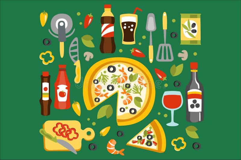 Η προετοιμασία πιτσών και η κατανάλωση των στοιχείων, ιταλικό πιάτο κουζίνας με τα σχετικά εργαλεία, πίνουν τις σάλτσες διανυσματική απεικόνιση