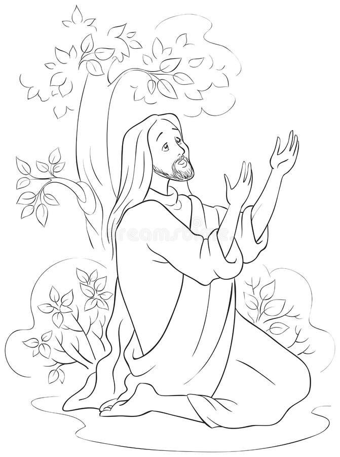 Η προσευχή του Ιησού στον κήπο Gethsemane Χρωματίζοντας σελίδα απεικόνιση αποθεμάτων