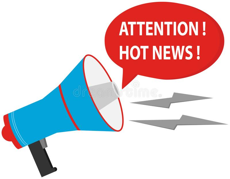 Η προσοχή είναι καυτές ειδήσεις Μεγάφωνο σε ένα άσπρο υπόβαθρο με ένα κόκκινο - καυτό μήνυμα ειδήσεων ελεύθερη απεικόνιση δικαιώματος