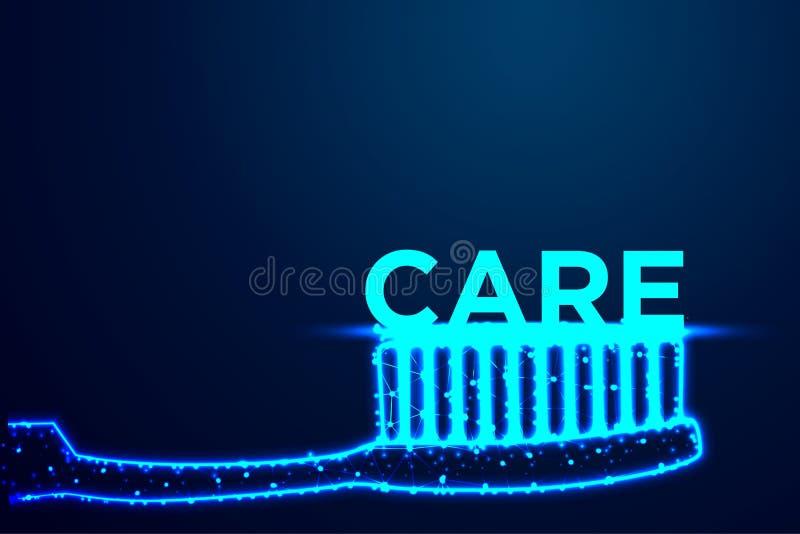 η προσοχή οδοντοβουρτσών και κόσμων, αφαιρεί χαμηλό πολυ, τρίγωνο, σημείο, γραμμή, πολύγωνο Λάμψτε μπλε υπόβαθρο, διανυσματική απ ελεύθερη απεικόνιση δικαιώματος