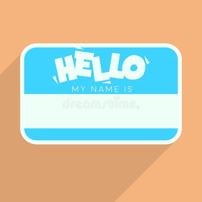 Η προσωπική κάρτα με το κείμενο γειά σου το όνομά μου είναι Επίπεδο διανυσματικό πρότυπο διανυσματική απεικόνιση