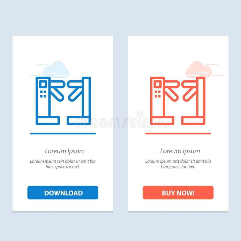 Η πρόσβαση, έλεγχος, περιστροφικές πύλες, υπόγεια μπλε και κόκκινο μεταφορτώνει και αγοράζει τώρα το πρότυπο καρτών Widget Ιστού απεικόνιση αποθεμάτων