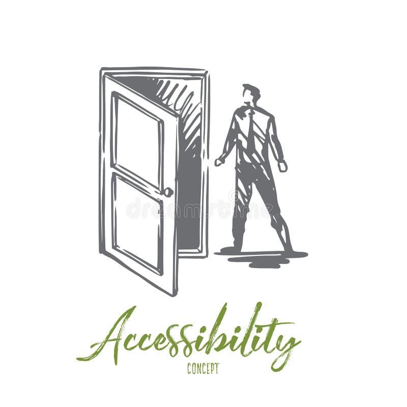 Η πρόσβαση, πόρτα, ανοικτή, εισάγεται, επιχειρησιακή έννοια Συρμένο χέρι απομονωμένο διάνυσμα απεικόνιση αποθεμάτων