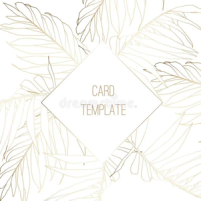 Η πρόσκληση κόμματος, floral προσκαλεί σας ευχαριστεί, rsvp σύγχρονο σχέδιο καρτών, χρυσοί τροπικοί φοίνικες γραμμών διανυσματική απεικόνιση