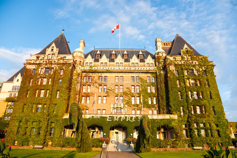 Η πρόσοψη του ιστορικού ξενοδοχείου αυτοκρατειρών σε Βικτώρια, Βρετανική Κολομβία, ΚΑΝΑΔΑΣ στοκ φωτογραφία με δικαίωμα ελεύθερης χρήσης