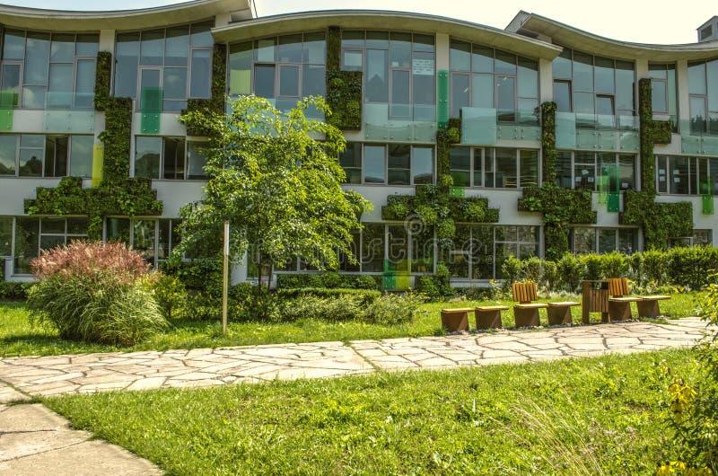 Η πρόσοψη των ακαδημαϊκών κτηρίων του διεθνούς κολλεγίου, καλυμμένοι κρεμώντας κήποι της αναρρίχησης των εγκαταστάσεων στα προάστ στοκ φωτογραφία