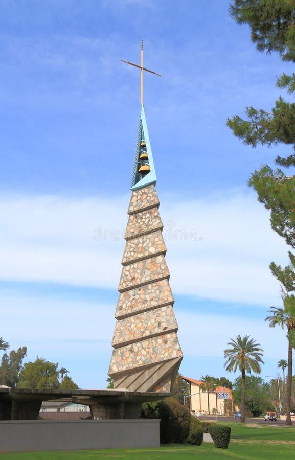 Frank Lloyd Wright: Εκκλησία στο Phoenix/κουδούνι-πύργος στοκ φωτογραφία με δικαίωμα ελεύθερης χρήσης
