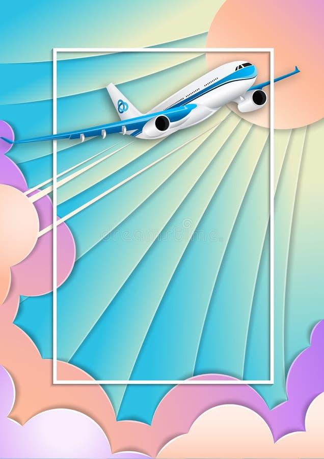 Η πτήση ενός άσπρου σκάφους της γραμμής επιβατών διάνυσμα κειμένων απεικόνισης πλαισίων Σύννεφα υπεριωδών ουρανού, ήλιων και σωρε απεικόνιση αποθεμάτων