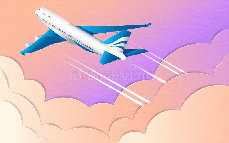 Η πτήση ενός άσπρου σκάφους της γραμμής επιβατών Σύννεφα υπεριωδών ουρανού, ήλιων και σωρειτών Η επίδραση του κομμένου εγγράφου διανυσματική απεικόνιση