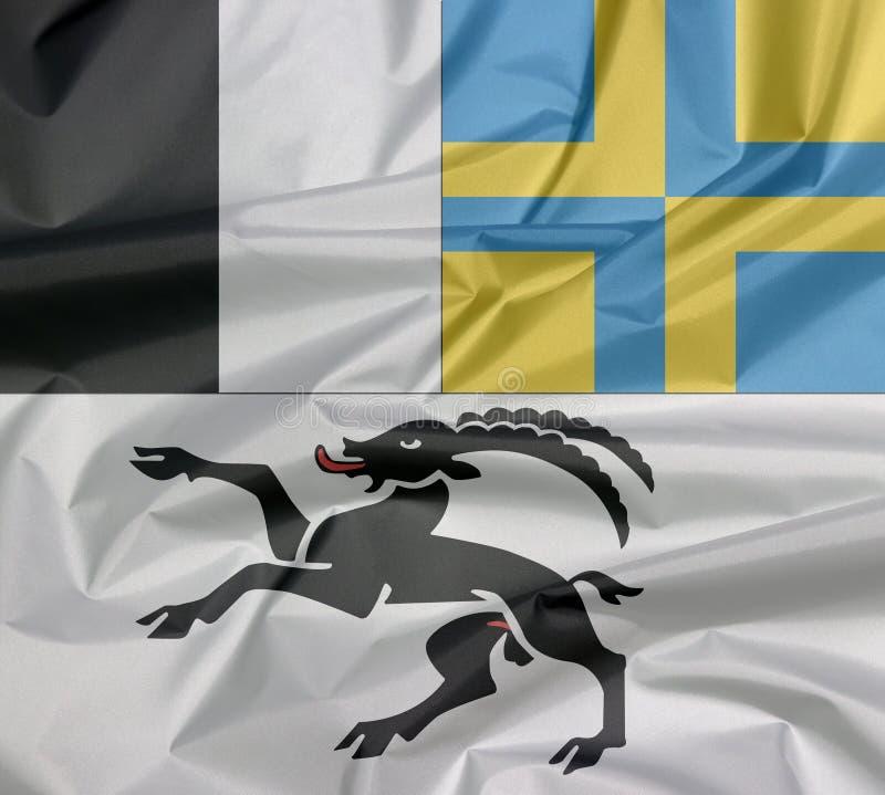 Η πτυχή το υπόβαθρο σημαιών, το καντόνιο της συνομοσπονδίας της Ελβετίας απεικόνιση αποθεμάτων