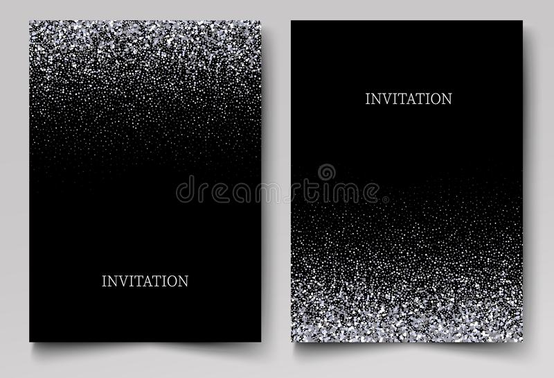 Η πτώση ακτινοβολεί κομφετί Διανυσματική ασημένια σκόνη, έκρηξη στο μαύρο υπόβαθρο Το σπινθήρισμα ακτινοβολεί σύνορα, εορταστικό  απεικόνιση αποθεμάτων