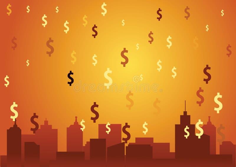 Η πτώση βροχής δολαρίων στην πόλη σημαίνει πλούσιος και πλούσιος έρχεται, πορτοκαλί SU απεικόνιση αποθεμάτων