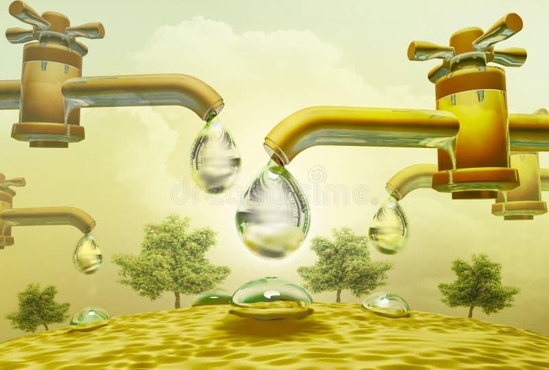 Η πτώση νερού χάνεται από τις βρύσες Πτώση και χύσιμο νερού Δέντρα απεικόνιση αποθεμάτων