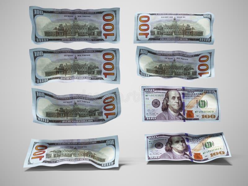 Η πτώση σημειώσεων δολαρίων στο πάτωμα τρισδιάστατο δίνει στο γκρίζο υπόβαθρο με τη σκιά απεικόνιση αποθεμάτων