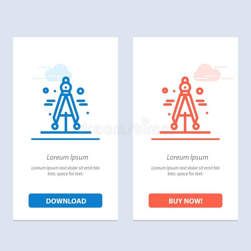 Η πυξίδα, ο διαιρέτης, η επιστήμη μπλε και το κόκκινο μεταφορτώνουν και αγοράζουν τώρα το πρότυπο καρτών Widget Ιστού ελεύθερη απεικόνιση δικαιώματος