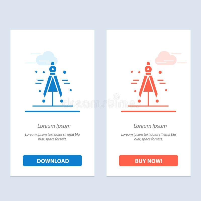 Η πυξίδα, ο διαιρέτης, η επιστήμη μπλε και το κόκκινο μεταφορτώνουν και αγοράζουν τώρα το πρότυπο καρτών Widget Ιστού διανυσματική απεικόνιση