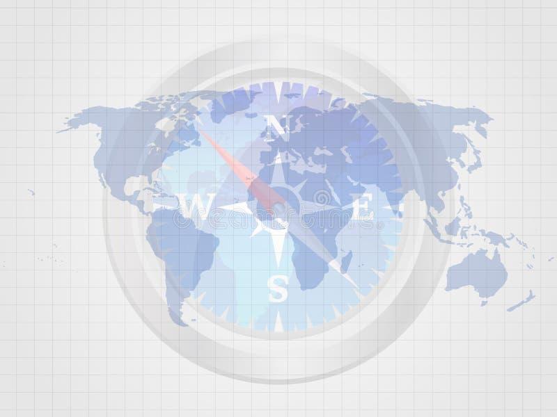 Η πυξίδα στον παγκόσμιο χάρτη αντιπροσωπεύει την έννοια του ταξιδιού χρυσή ιδιοκτησία βασικών πλήκτρων επιχειρησιακής έννοιας που ελεύθερη απεικόνιση δικαιώματος