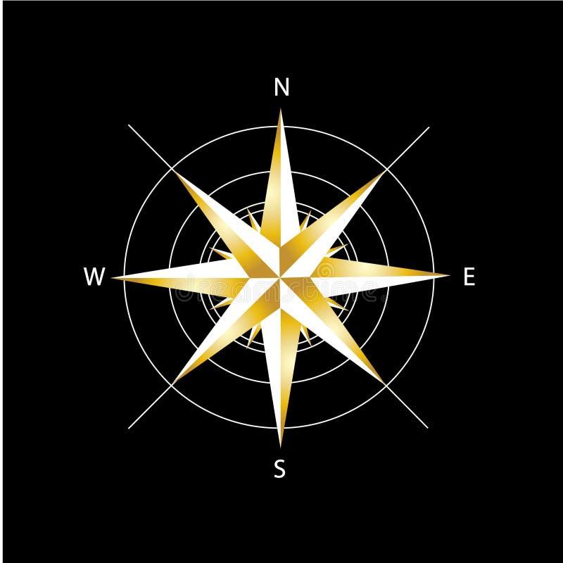 Download η πυξίδα χρυσή αυξήθηκε απεικόνιση αποθεμάτων. εικονογραφία από ναυτικός - 22787678