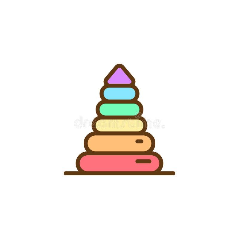 Η πυραμίδα παιχνιδιών μωρών γέμισε το εικονίδιο περιλήψεων διανυσματική απεικόνιση