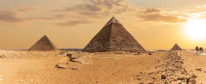 Η πυραμίδα Khafre σε Giza, πανοραμική άποψη, Αίγυπτος στοκ εικόνες με δικαίωμα ελεύθερης χρήσης