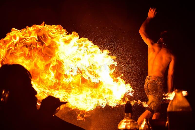 Η πυρκαγιά που χορεύει παρουσιάζει τη νύχτα στην παραλία στοκ εικόνα με δικαίωμα ελεύθερης χρήσης