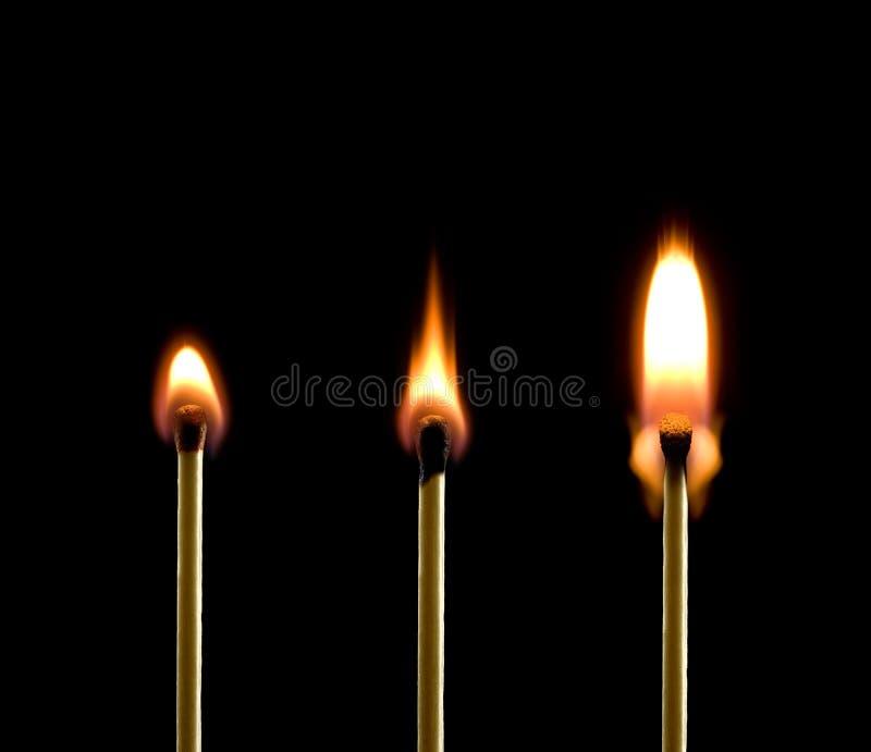η πυρκαγιά ταιριάζει με τρία στοκ φωτογραφίες με δικαίωμα ελεύθερης χρήσης