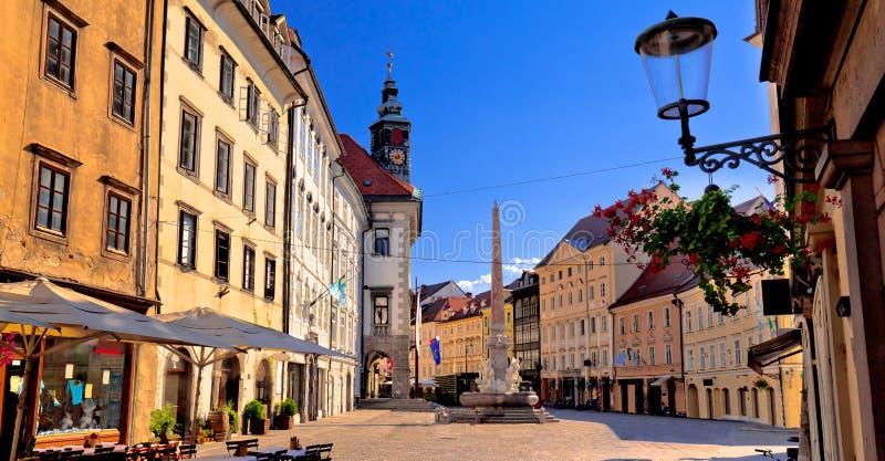 Η πόλη του Λουμπλιάνα παλαιά η κεντρική οδός στοκ φωτογραφία με δικαίωμα ελεύθερης χρήσης