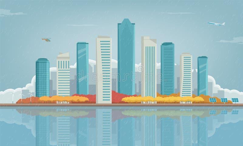 η πόλη φθινοπώρου στεγάζει τα δέντρα φύλλων κίτρινα landscape urban Κτήρια και αρχιτεκτονική Πόλη εικονικής παράστασης πόλης διάν διανυσματική απεικόνιση